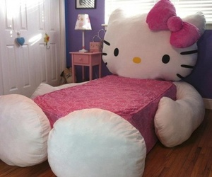 bed, hello kitty, and cute image