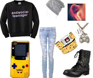 beanie, boots, and pokemon image