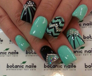 glitter, nails, and teal image