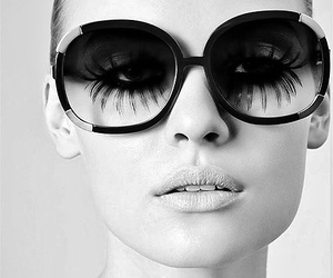 girl, sunglasses, and black and white image