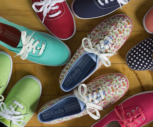 blue, floral, and keds image