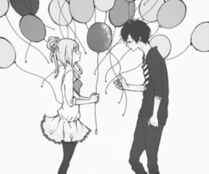 anime, balloons, and couple image