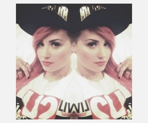 pink hair, demi lovato shaved, and neon lights tour image