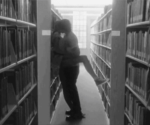 kiss, couple, and library image