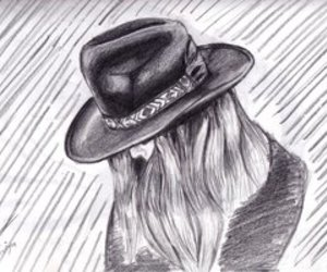 drawing, girl, and hat image