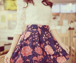 lace, floral skirt, and floral image