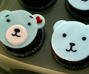 bear, cupcake, and blue image