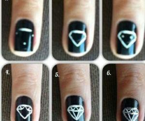 diamond, nails, and black image