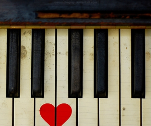 piano, heart, and love image