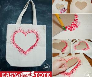 diy, heart, and bag image