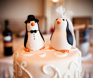 wedding, cake, and penguin image