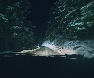 night, road, and winter image