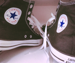 all stars, shoes, and black image