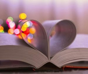 book, heart, and lights image