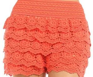 coral, crochet, and shorts image