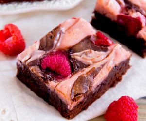 brownies, food, and raspberry image