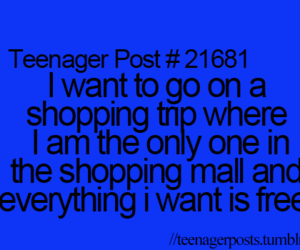 teenager post, shopping, and funny image