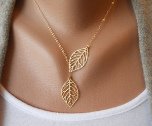 leaves, necklace, and gold image