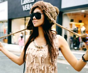 girl, hat, and sunglasses image