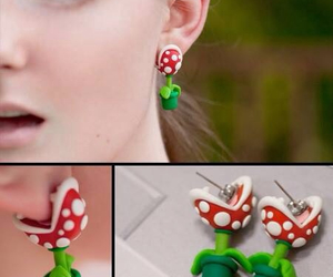earrings, mario, and plants image