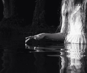 water, girl, and black and white image