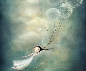art, fly, and dandelion image