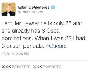 ellen degeneres, Jennifer Lawrence, and oscars image