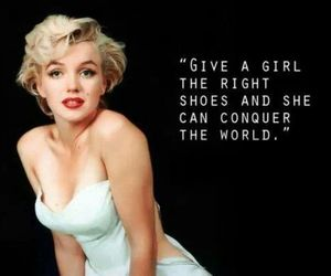Marilyn Monroe, shoes, and quote image