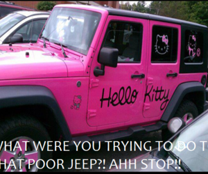 ew, hello kitty, and jeep image