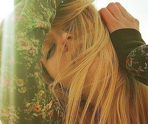 girl, blonde, and floral image