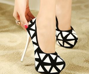 black and white, fashion, and heels image