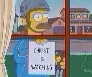 funny, the simpsons, and Christ image