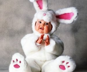 baby, bunny, and white image
