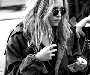 olsen, blonde, and black and white image