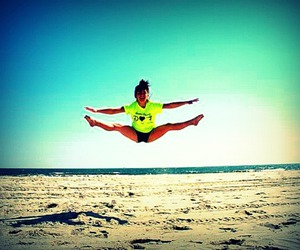 cheer, toe touch, and cheerleader image