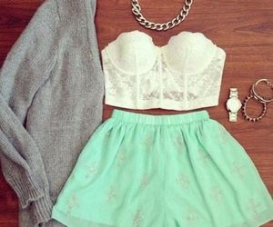 bralette, cardigan, and skirt image