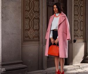 coat, fashion, and handbag image