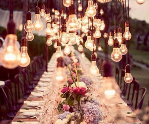 light, flowers, and wedding image