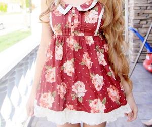 floral dress, kawaii, and kfashion image