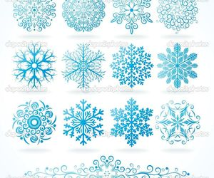 ink, snow, and snowflake image