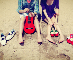 summer, couple, and sand image