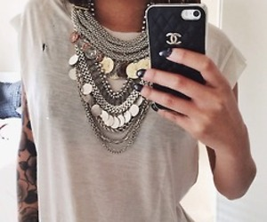 girl, chanel, and necklace image