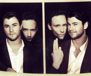 chris hemsworth, tom hiddleston, and loki image