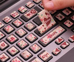 keyboard, pink, and computer image