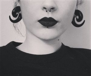 piercing, black, and septum image