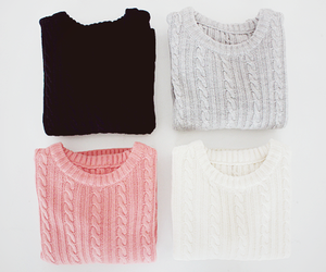sweater, white, and black image