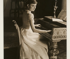 audrey hepburn, icon, and piano image