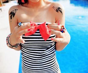 girl, tattoo, and bow image