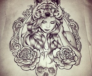 girl, tattoo, and wolf image
