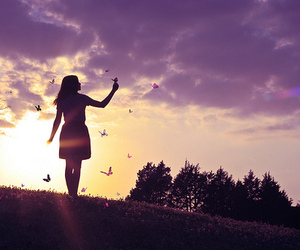 girl, butterfly, and sky image